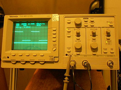 Image: My old-school analog oscilloscope, calibration check...