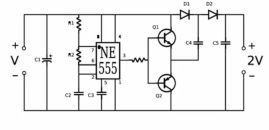 Image: The circuit diagram for Ludic Science's DC - DC voltage doubler...
