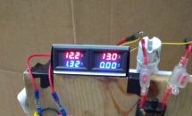Image: This is the voltage reading of the two batteries while the ammeter is connected...